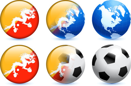 Bhutan Flag Button with Global Soccer Event Original Illustration Vector