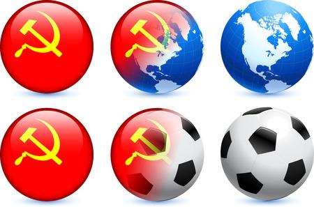USSR Flag Button with Global Soccer EventOriginal Illustration 向量圖像