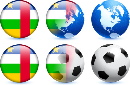 Central African Republic Flag Button with Global Soccer Event Original Illustration Vector