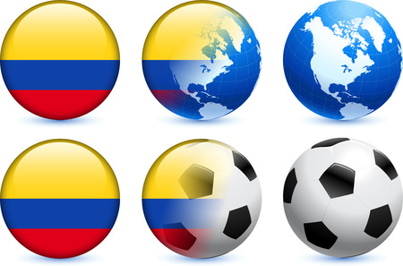 Colombia Flag Button with Global Soccer Event Original Illustration Vector