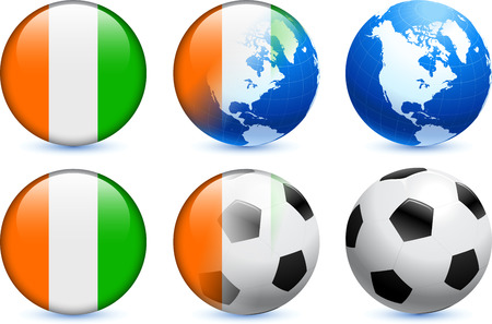 Ivory Coast Flag Button with Global Soccer Event