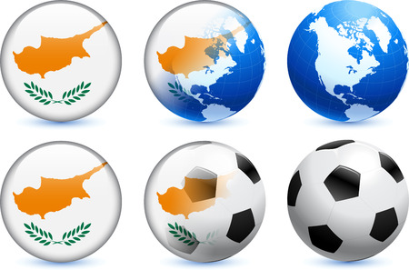Cyprus Flag Button with Global Soccer Event Original Illustration Vector