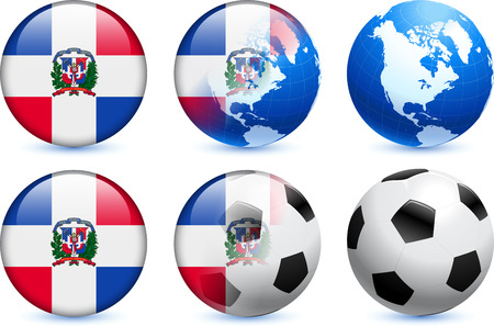 Dominican Republic Flag Button with Global Soccer Event Original Illustration