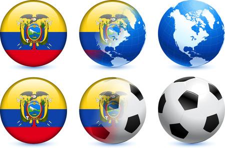 Ecuador Flag Button with Global Soccer Event Original Illustration Ilustração