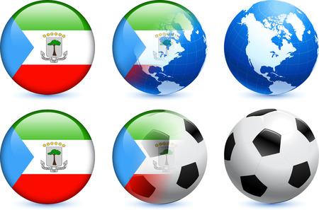 Bot?n de bandera de Guinea Ecuatorial con el Mundial de f?tbol de eventos Ilustraci?n original  Ilustración de vector