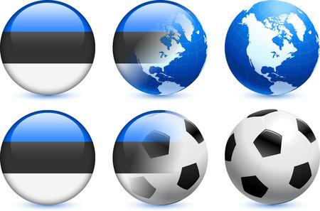 世界的なサッカーのイベントでエストニア フラグ] ボタン オリジナル イラスト  イラスト・ベクター素材