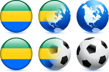 Gabon Flag Button with Global Soccer Event Original Illustration Vector
