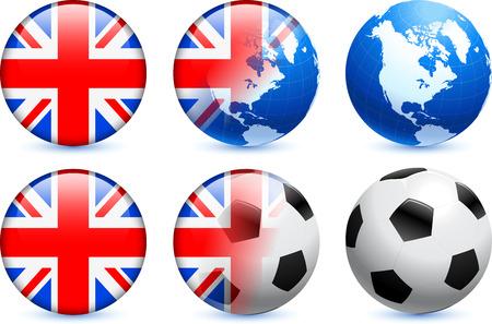 bandera de gran breta�a: Bot?n de bandera de Gran Breta?a con el Mundial de f?tbol de eventos Ilustraci?n original