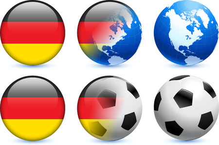 Germany Flag Button with Global Soccer Event Original Illustration Vector