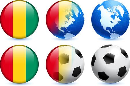 Guinea Flag Button with Global Soccer EventOriginal Illustration