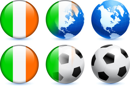 Ireland Flag Button with Global Soccer Event Original Illustration Vector
