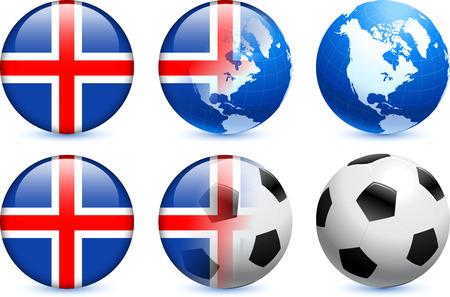 Iceland Flag Button with Global Soccer EventOriginal Illustration