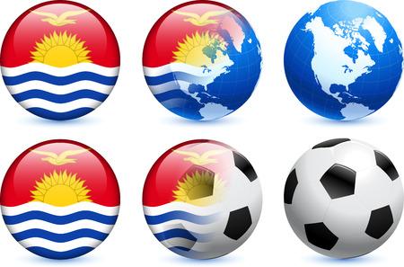 kiribati: Kiribati Flag Button with Global Soccer Event Original Illustration