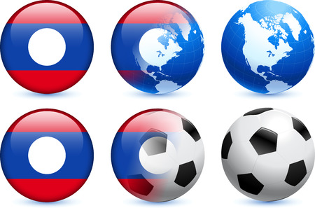 Laos Flag Button with Global Soccer Event