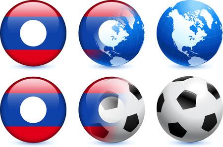 Laos Flag Button with Global Soccer EventOriginal Illustration