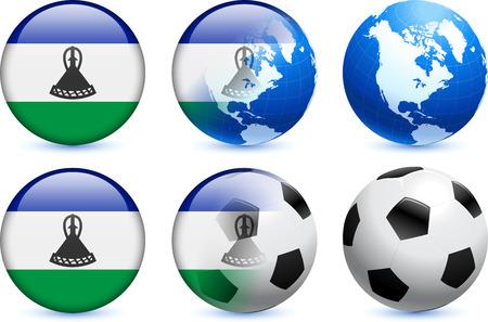 lesotho: Lesotho Flag Button with Global Soccer Event Original Illustration