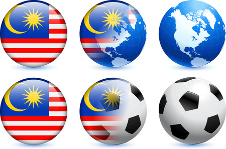 Malaysia Flag Button with Global Soccer Event Original Illustration Vector
