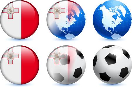 세계 축구 이벤트와 몰타 플래그 단추 원래 그림 일러스트
