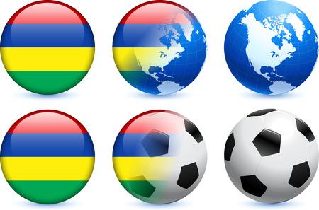 mauritius: Mauritius Flag Button with Global Soccer Event Original Illustration