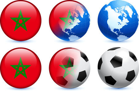 Morocco Flag Button with Global Soccer Event Original Illustration
