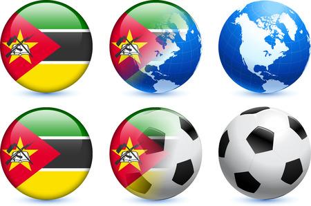 mozambique: Mozambique Flag Button with Global Soccer Event Original Illustration