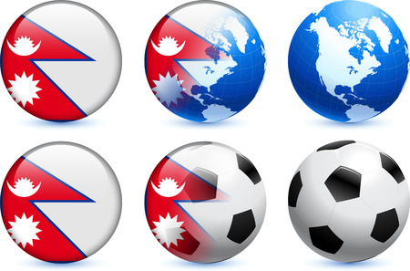 Nepal Flag Button with Global Soccer Event Original Illustration