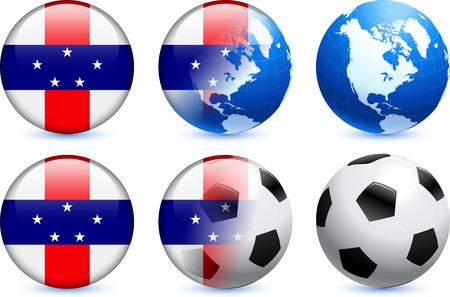 Netherlands Antilles Flag Button with Global Soccer EventOriginal Illustration Ilustração