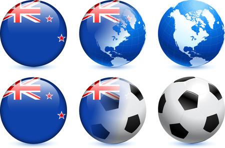 new zealand flag: Nuova Zelanda Flag Button con Global Soccer Event Illustrazione originale