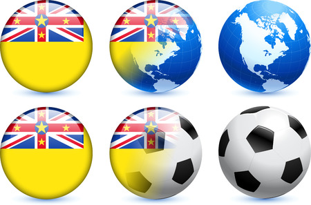 niue: Niue Flag Button with Global Soccer Event Original Illustration