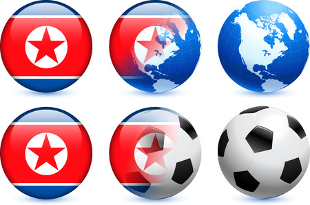 North korea Flag Button with Global Soccer Event Original Illustration Vector