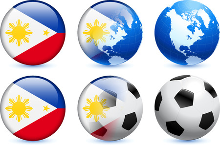 Philippines Flag Button with Global Soccer EventOriginal Illustration 向量圖像