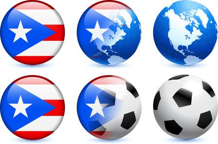 rican: Bot?n de bandera de Puerto Rico con el Mundial de f?tbol de eventos Ilustraci?n original