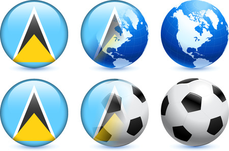 Saint Lucia Flag Button with Global Soccer Event Original Illustration