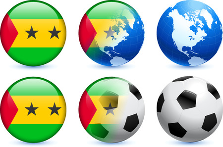tome: Sao Tome Flag Button with Global Soccer Event Original Illustration Illustration