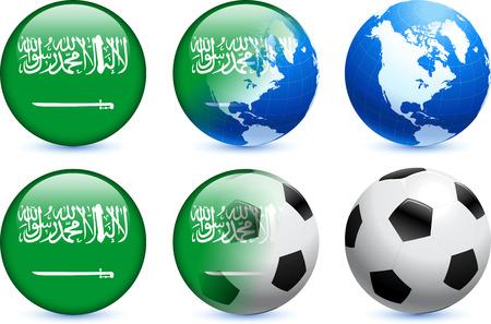 Saudi Arabia Flag Button with Global Soccer Event Original Illustration Vector