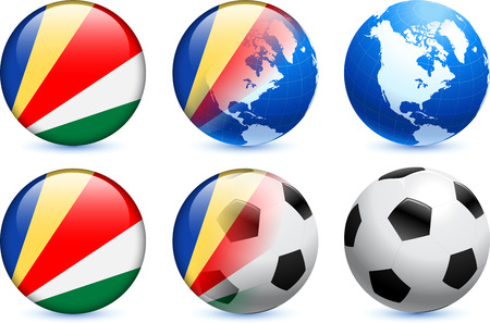 seychelles: Seychelles Flag Button with Global Soccer Event Original Illustration Illustration