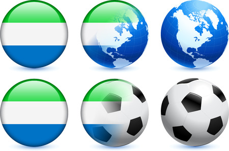 Sierra Leone Flag Button with Global Soccer Event Original Illustration Vector
