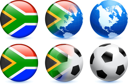 South Africa Flag Button with Global Soccer Event Original Illustration Vector