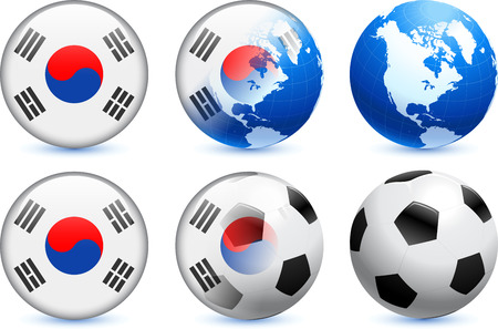South Korea Flag Button with Global Soccer Event