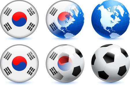 South Korea Flag Button with Global Soccer EventOriginal Illustration Ilustração