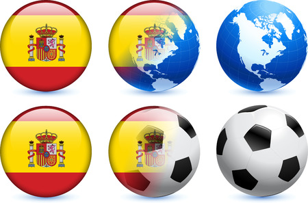 Spain Flag Button with Global Soccer Event Original Illustration Ilustração
