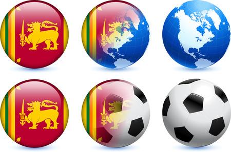 Sri Lanka Flag Button with Global Soccer Event Original Illustration