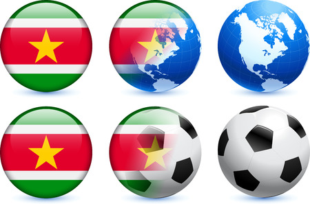 suriname: Suriname Flag Button with Global Soccer Event Original Illustration Illustration