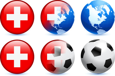 cross match: Switzerland Flag Button with Global Soccer Event Original Illustration Illustration