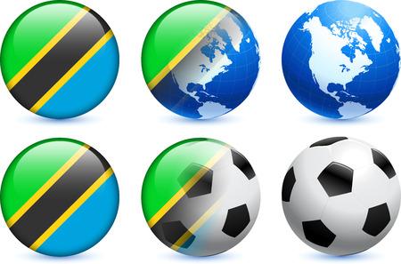 Tanzania Flag Button with Global Soccer EventOriginal Illustration
