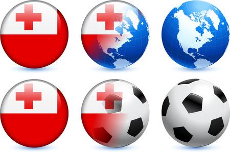 Tonga Flag Button with Global Soccer EventOriginal Illustration Ilustração