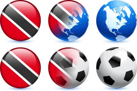 trinidad: Trinidad and Tobago Flag Button with Global Soccer Event Original Illustration