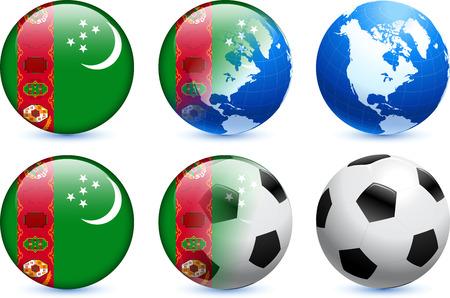 Turkmenistan Flag Button with Global Soccer Event Original Illustration