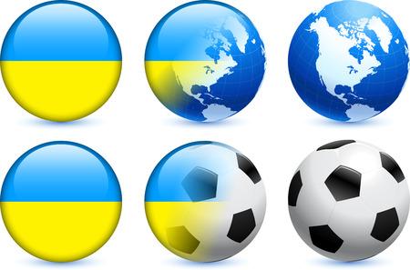 Ukraine Flag Button with Global Soccer EventOriginal Illustration Ilustração