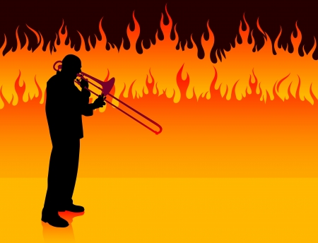 Trumpet Musician on Fire Background
